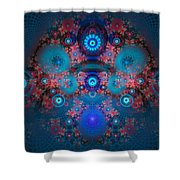 Abstract Fractal Art Blue And Red Shower Curtain