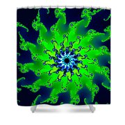 Abstract Fractal Art Fresh Bright Green And Dark Blue Shower Curtain