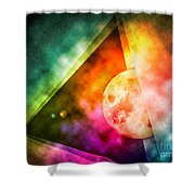 Abstract Full Moon Spectrum Shower Curtain