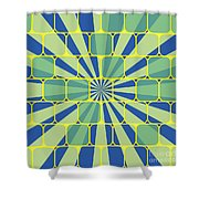 Abstract Geometric Blue Shower Curtain