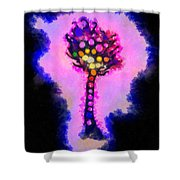 Abstract Glowball Tree Shower Curtain by Pixel Chimp