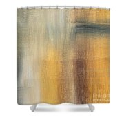Abstract Golden Yellow Gray Contemporary Trendy Painting Fluid Gold Abstract II By Madart Studios Shower Curtain