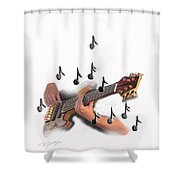 Abstract Guitar Player Shower Curtain