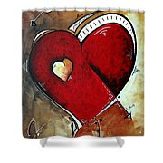 Abstract Heart Original Painting Valentines Day Heart Beat By Madart Shower Curtain