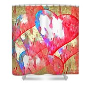Abstract Hearts 16 Shower Curtain