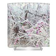 Abstract Ice Covered Shrubs Shower Curtain