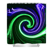 Abstract In Green And Purple Shower Curtain
