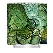 Abstract In Green Shower Curtain