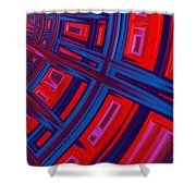 Abstract In Red And Blue Shower Curtain