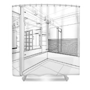 Abstract Interior Construction Shower Curtain