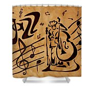 Abstract Jazz Music Coffee Painting Shower Curtain