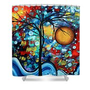 Abstract Landscap Art Original Circle Of Life Painting Sweet Serenity By Madart Shower Curtain