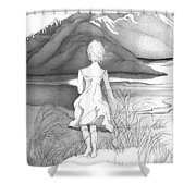 Abstract Landscape Art Black And White Dream The Jumping Off Place By Romi Shower Curtain