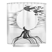 Abstract Landscape Art Black And White Goin South By Romi Shower Curtain by Megan Duncanson