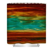 Abstract Landscape Art - Fire Over Copper Lake - By Sharon Cummings Shower Curtain