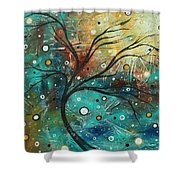 Abstract Landscape Art Original Colorful Heavy Textured Painting Cracked Facade By Madart Shower Curtain