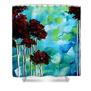 Abstract Landscape Art Original Tree And Moon Painting Blue Moon By Madart Shower Curtain