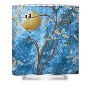 Abstract Landscape Bird Painting Original Art Blue Steel 1 By Megan Duncanson Shower Curtain