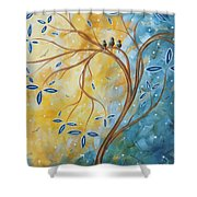 Abstract Landscape Bird Painting Original Art Blue Steel 2 By Megan Duncanson Shower Curtain