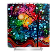 Abstract Landscape Colorful Contemporary Painting By Megan Duncanson Brilliance In The Sky Shower Curtain by Megan Duncanson