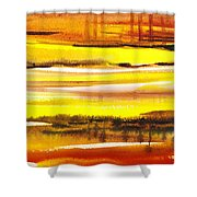 Abstract Landscape Found Reflections Shower Curtain