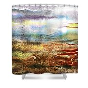 Abstract Landscape Morning Mist Shower Curtain