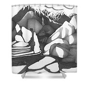Abstract Landscape Rock Art Black And White By Romi Shower Curtain