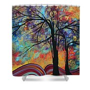 Abstract Landscape Tree Art Colorful Gold Textured Original Painting Colorful Inspiration By Madart Shower Curtain