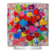 Abstract Love Bouquet Of Colorful Hearts And Flowers Shower Curtain
