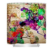 Abstract Mixed Media Shower Curtain