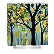 Abstract Modern Tree Landscape Spring Rain By Amy Giacomelli Shower Curtain