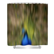 Abstract Moving Peacock  Shower Curtain by Georgeta Blanaru