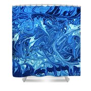 Abstract - Nail Polish - Ocean Deep Shower Curtain by Mike Savad