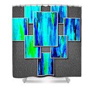 Abstract Ocean Tiles Shower Curtain