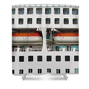 Abstract Of Lifeboats On A Large Cruise Ship Shower Curtain