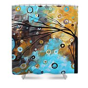 Abstract Painting Chocolate Brown Whimsical Landscape Art Baby Blues By Madart Shower Curtain