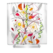Abstract Pen Drawing Fifty-five Shower Curtain