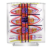 Abstract Pen Drawing Fifty Shower Curtain