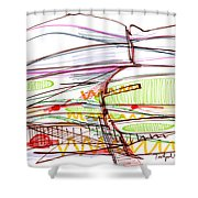 Abstract Pen Drawing Forty-five Shower Curtain