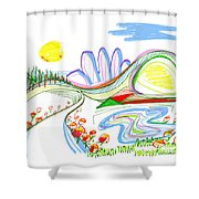 Abstract Pen Drawing Forty-four Shower Curtain