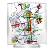 Abstract Pen Drawing Forty-nine Shower Curtain