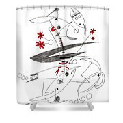 Abstract Pen Drawing Seventy-eight Shower Curtain