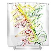 Abstract Pen Drawing Seventy-one Shower Curtain