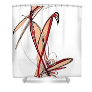 Abstract Pen Drawing Sixty-five Shower Curtain