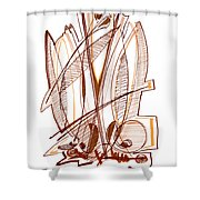 Abstract Pen Drawing Sixty-four Shower Curtain