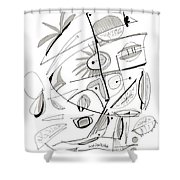 Abstract Pen Drawing Sixty-seven Shower Curtain