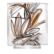 Abstract Pen Drawing Sixty-six Shower Curtain