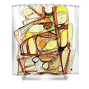 Abstract Pen Drawing Sixty-three Shower Curtain