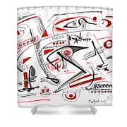 Abstract Pen Drawing Thirty-nine Shower Curtain