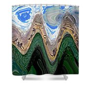 Abstract - Penguins On Ice Shower Curtain